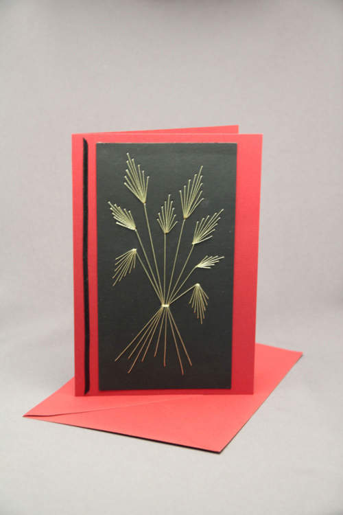 Trauerkarte gestickt schwarz rot