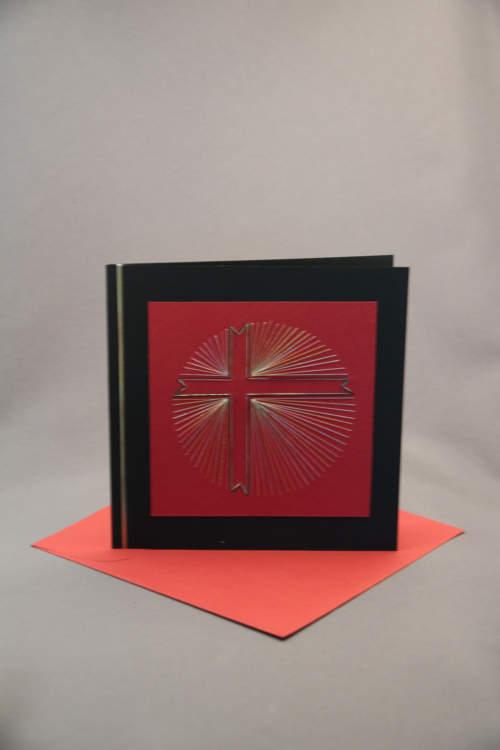 Trauerkarte gestickt rot