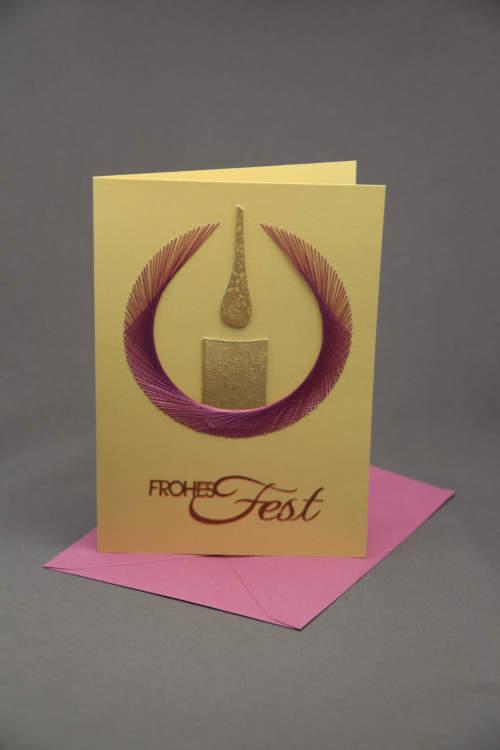 Weihnachtskarte Kerze gestickt pink