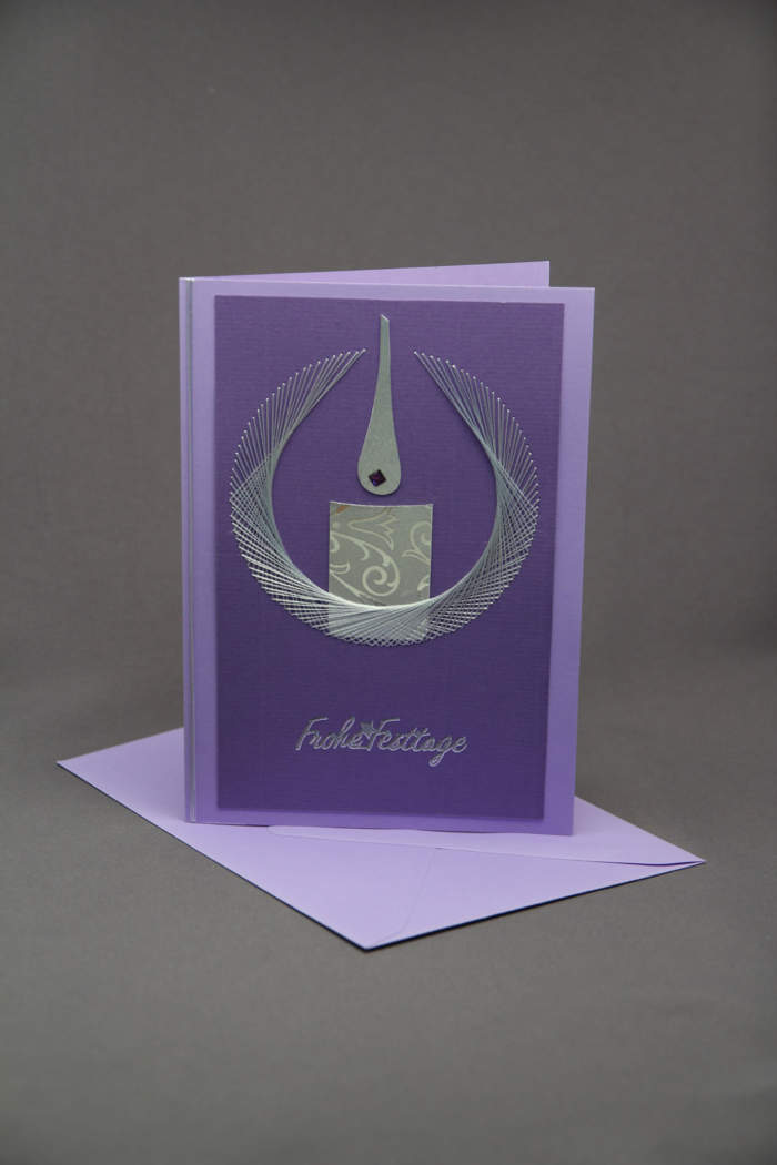 Weihnachtskarte Kerze gestickt Silber
