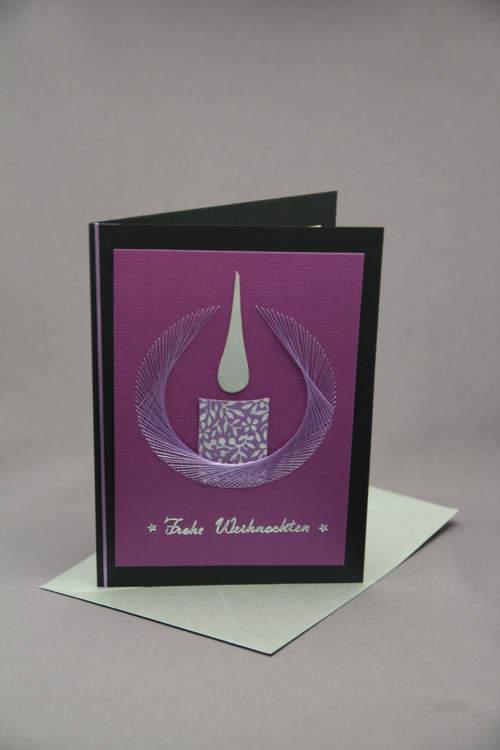 Weihnachtskarte Kerze gestickt lila