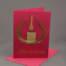Weihnachtskarte Kerze gestickt gold