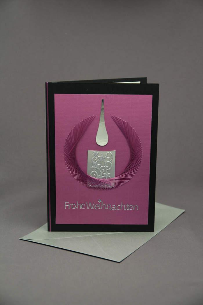 Weihnachtskarte Kerze gestickt
