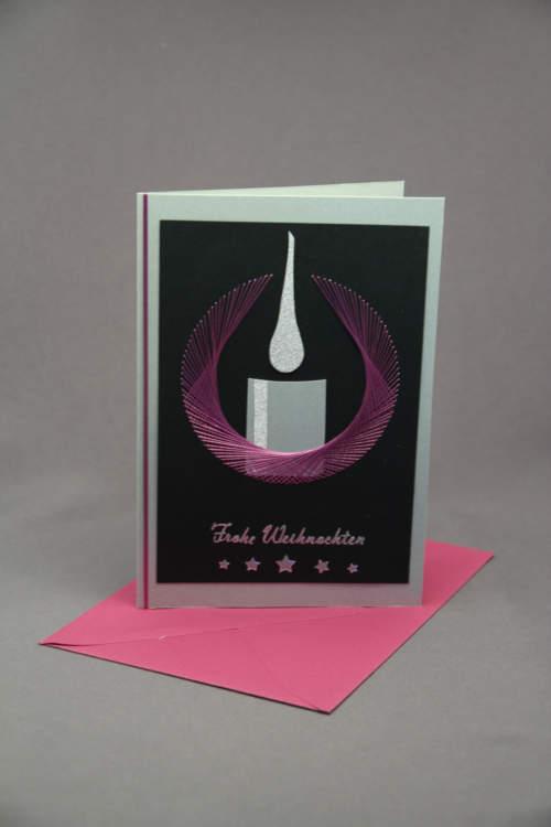 Weihnachtskarte Kerze gestickt schwarz