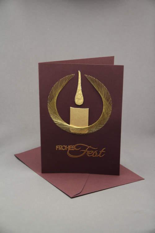 Weihnachtskarte Kerze gestickt braun