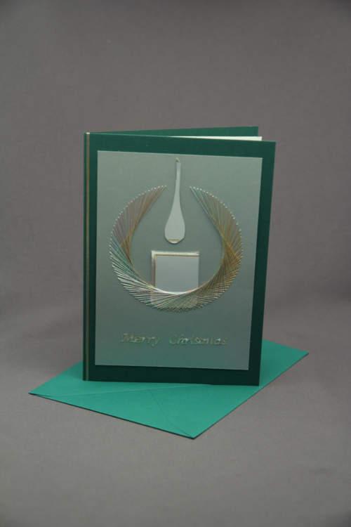 Weihnachtskarte Kerze gestickt gruen