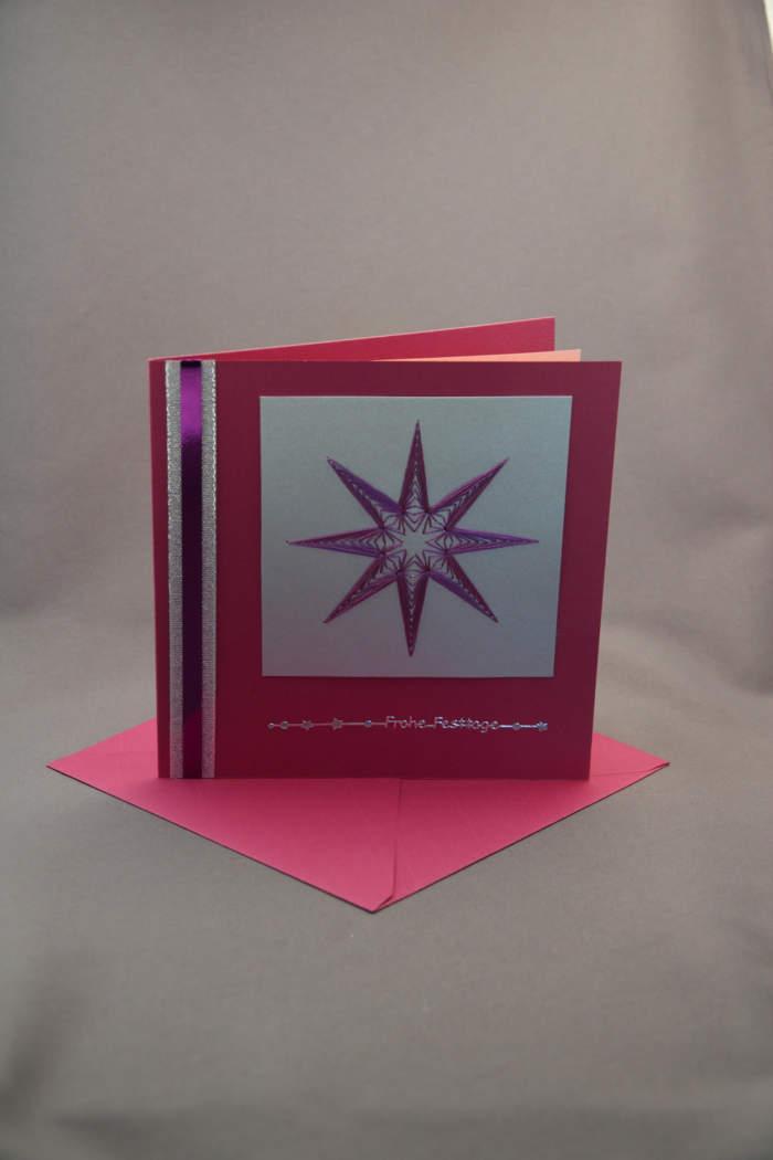 Weihnachtskarte Stern gestickt cassis