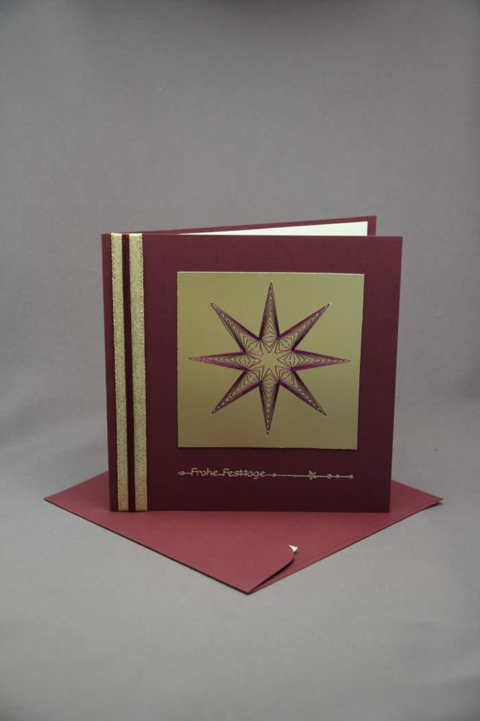 Weihnachtskarte Stern gestickt braun