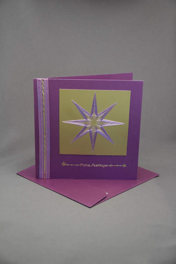 Weihnachtskarte Stern gestickt gold