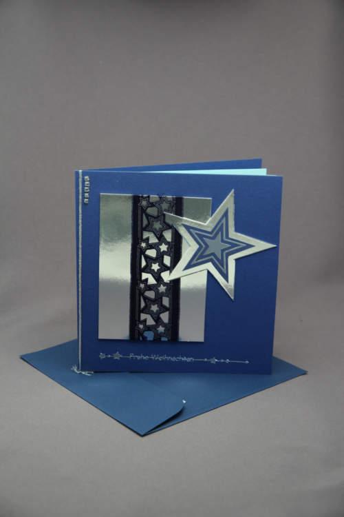 Weihnachtskarte silber blau