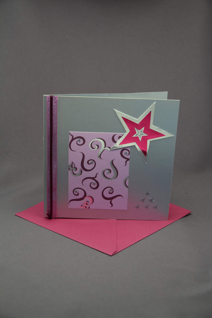 Weihnachtskarte silber lila
