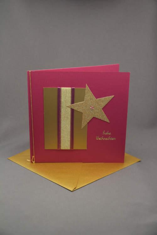 Weihnachtskarte pink mit Stern