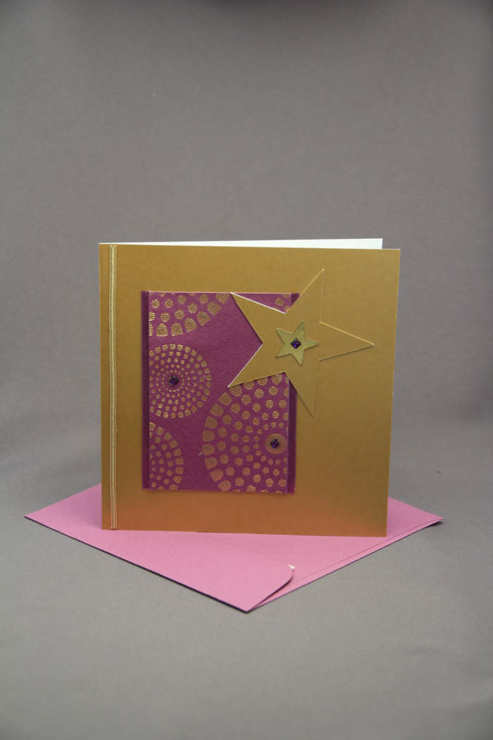 Weihnachtskarte gold mit stern