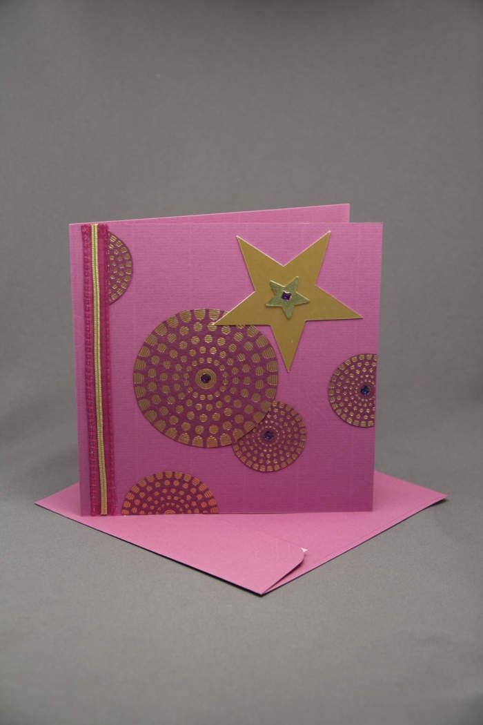 Weihnachtskarte gold pink