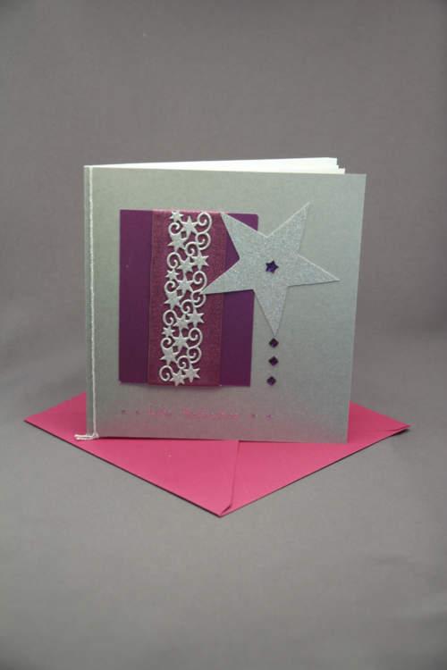 Weihnachtskarte silber pink