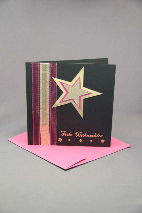 Weihnachtskarte schwarz pink
