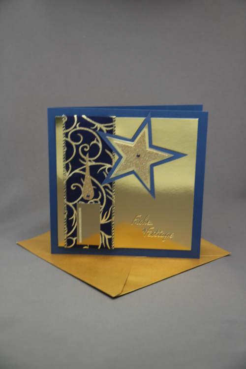 Weihnachtskarte gold blau
