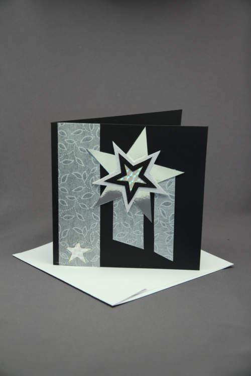 Weihnachtskarte silber schwarz