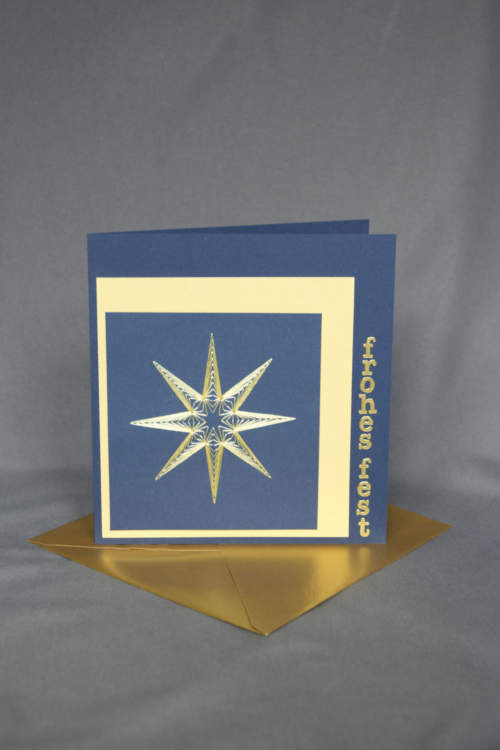 Weihnachtskarte mit Stern, gestickt
