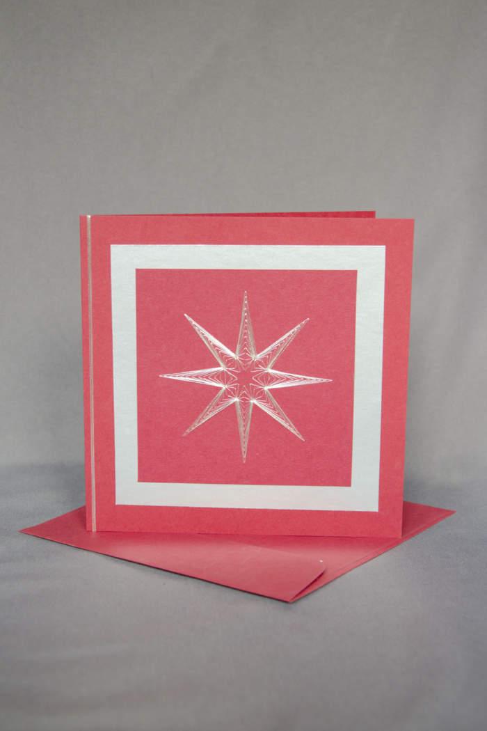 Weihnachtskarte gestickt mit Stern