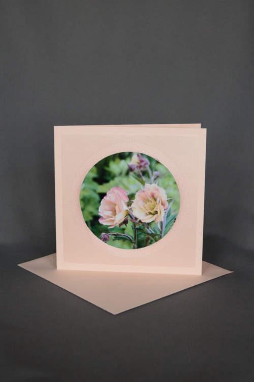 Blumekarte, Geburtstagskarte Rosa mit Blumen