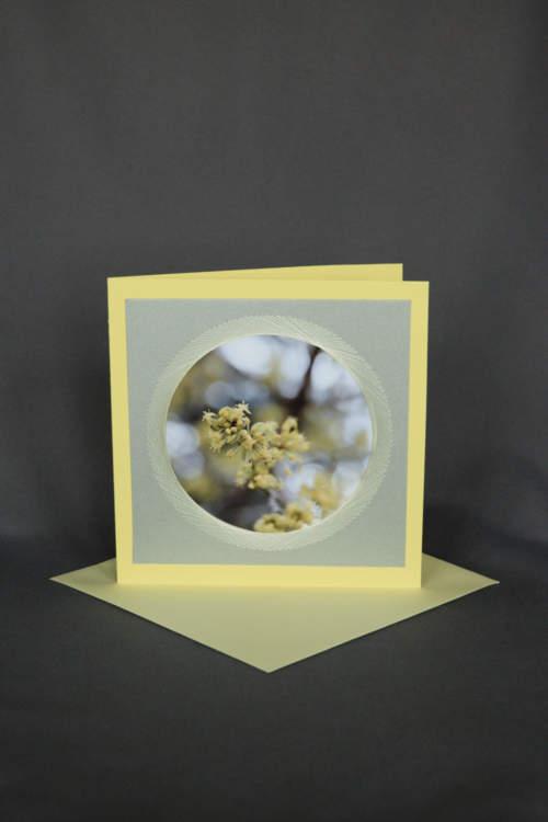 Blumekarte, Geburtstagskarte gelb