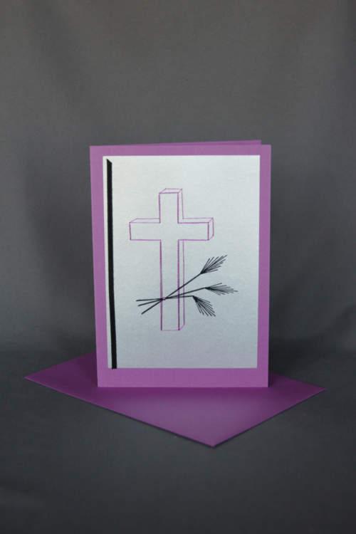 Trauerkarte mit gesticktem Kreuz und Ähren