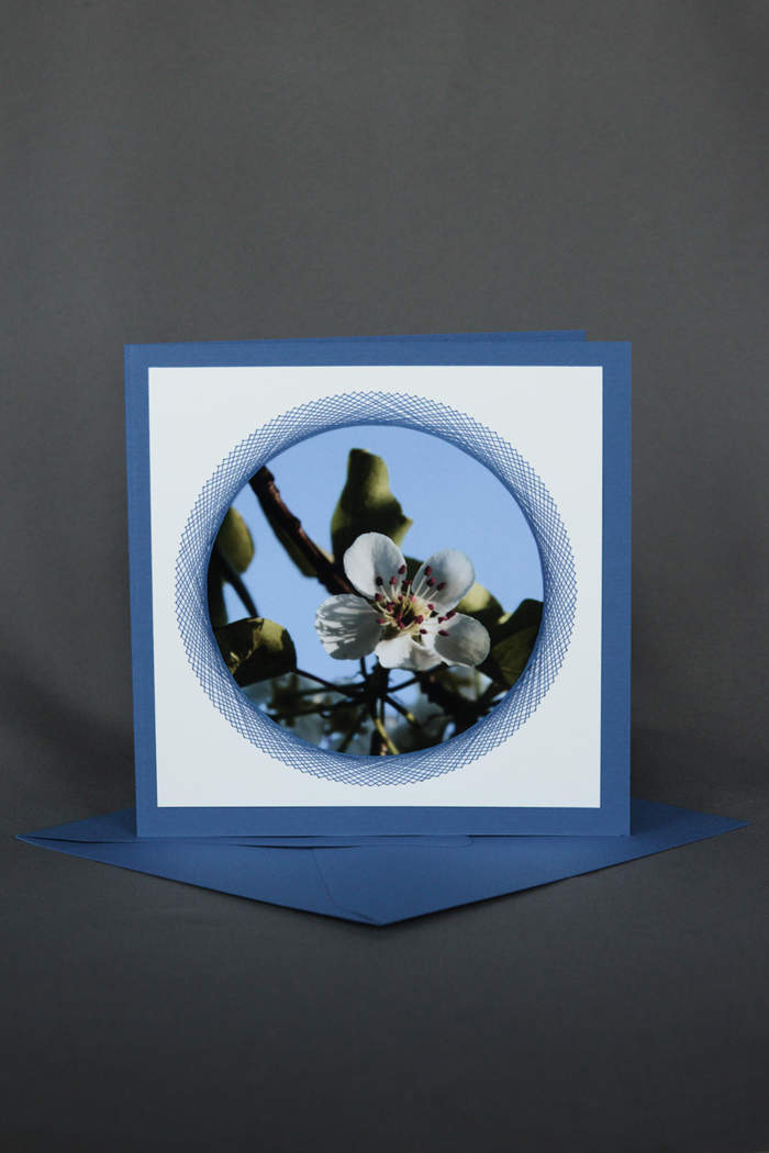 Grusskarte mit Apfelblüte und gesticktem Element